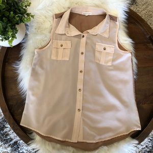 Anthro Thyme & Honey pink and tan button up tank